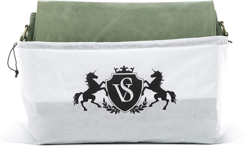 "SID & VAIN Messenger Bag Spencer Large Laptop Bag Real Leather 15.6"" Laptop Business Briefcase Leather Bag Women and Men Brown Green"