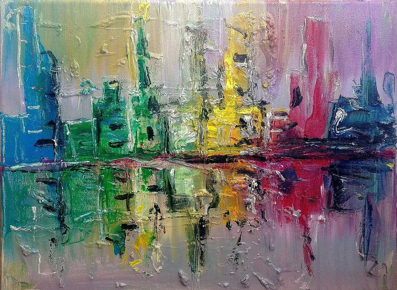 """Pintura Abstracta Lienzo al Óleo Arte Moderno """"CIUDAD EN OSCURO"""" por DOBOS, Cuadro para Decoración del Hogar, sala de estar, dormitorio, oficina, lista para colgar"""