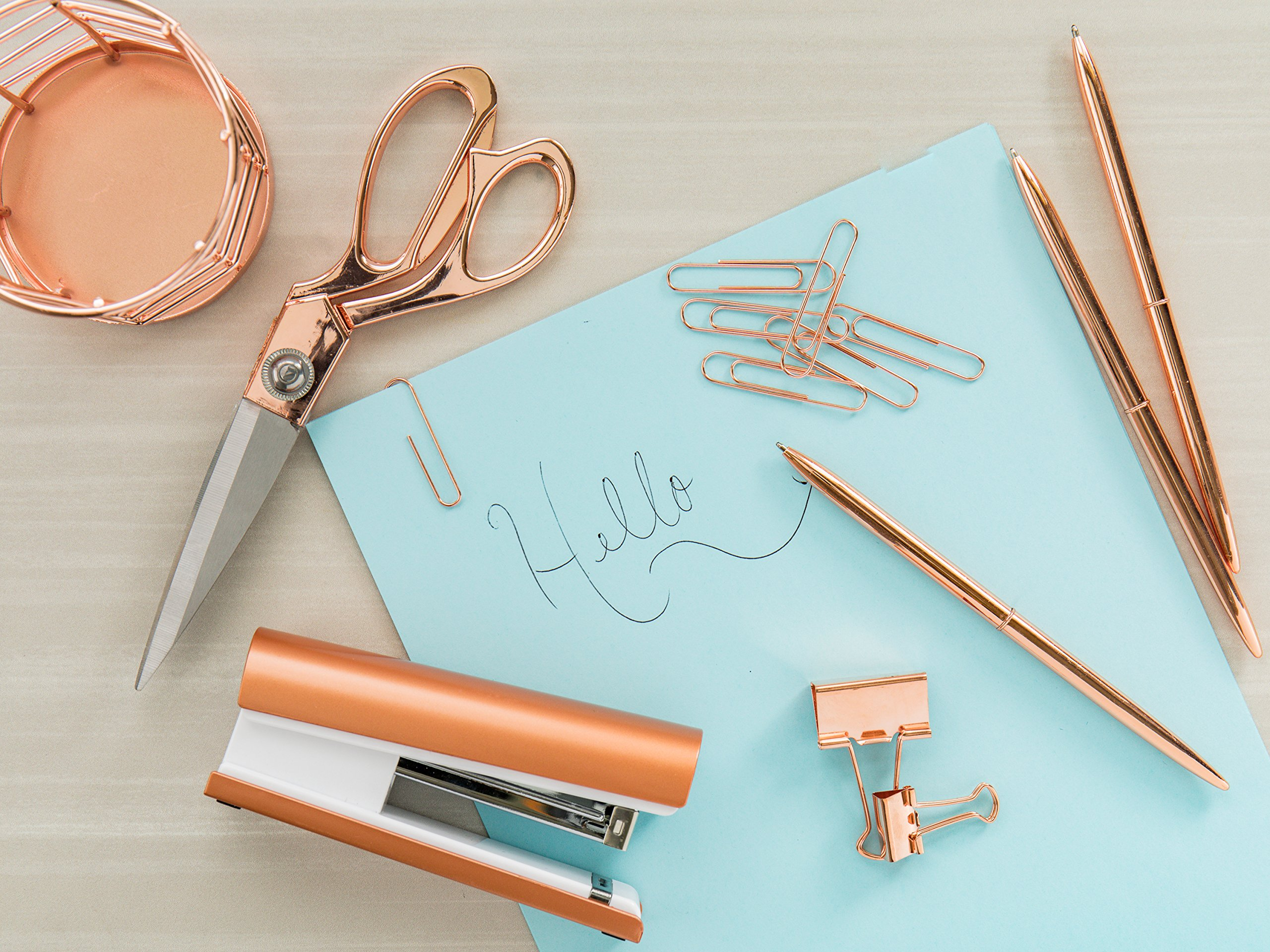 Rose Gold Desk Accessories | 7 Desktop Essentials (44 Items Total) | Office Supply Set & Organizer in Rose Gold Décor by Greenline Goods (Image #7)