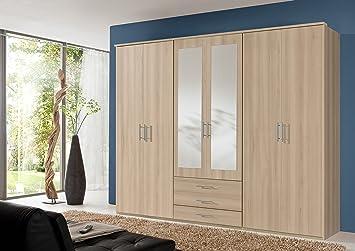 BILLY 6 Door Mirror Wardrobe Beech Effect Bedroom Furniture ...