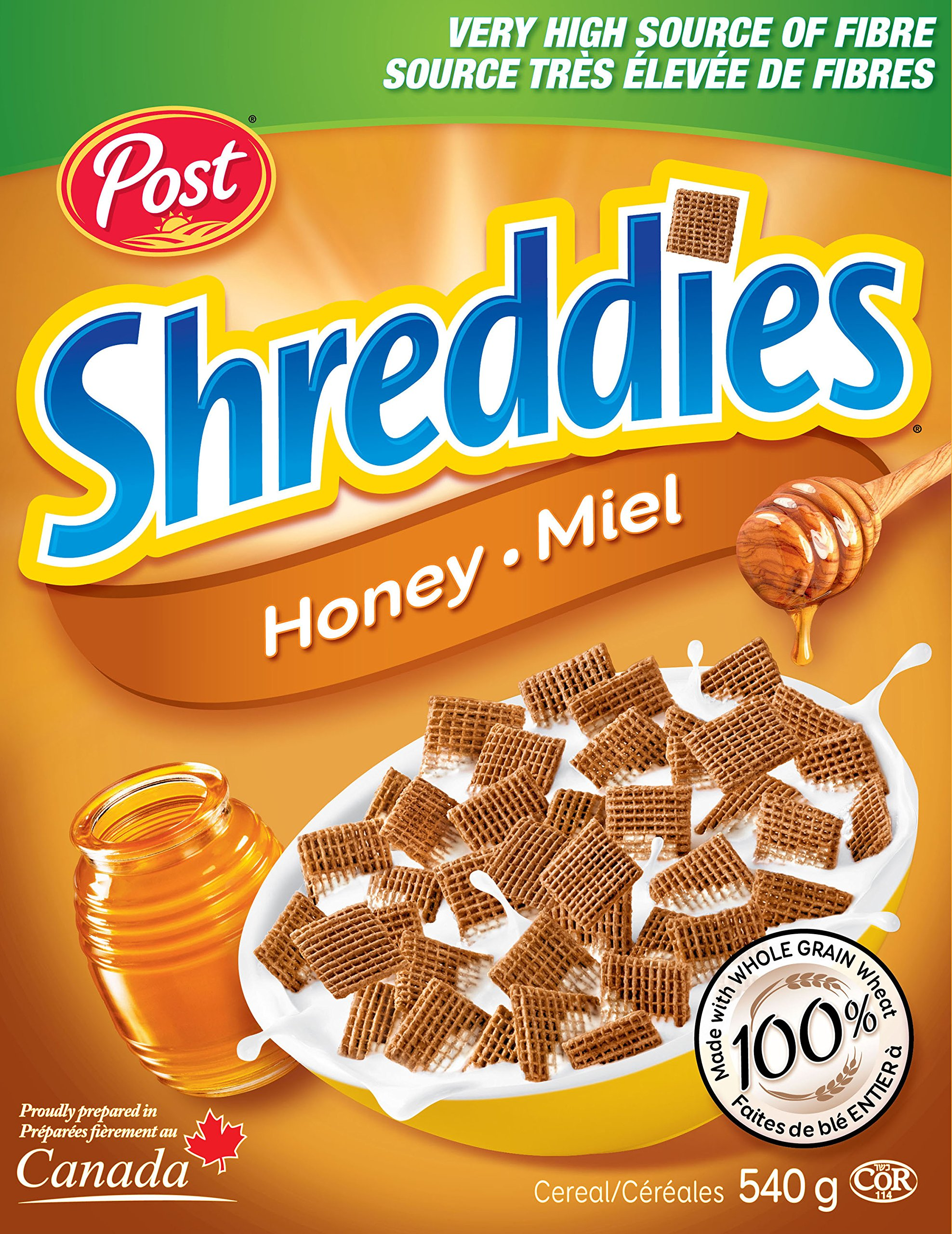 Post Honey Shreddies Cereal, 540g/19.04oz Packaging may vary {Imported from Canada}