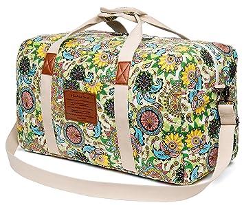 buy online 48a40 2f06c Amazon.com   Malirona Canvas Weekender Bag Travel Duffel Bag for Weekend  Overnight Trip   Travel Duffels