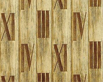 Holz Tapete Vliestapete EDEM 945 22 Hochwertige Tapete In Holzoptik  Holzdielen Römische Zahlen Deko Grün