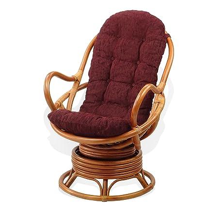 Amazon.com: Salón de mecedora giratoria Java silla de mimbre ...