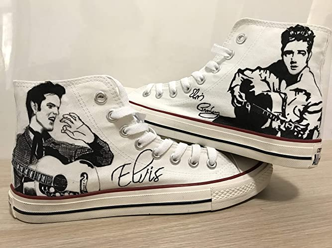 d89c50786 Amazon.com: Custom Elvis Presley Chuck Taylors Shoes Painted Shoes Sneakers  Hi Tops Customised Shoes Custom Hi Tops Painted Shoes Sneakers FREE  SHPPING: ...