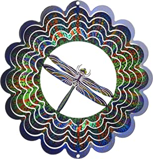 product image for Next Innovations Kaleidoscope Dragonfly Wind Spinner, Hanging Décor, Small, Made in the USA for Outdoor Lawn and Garden Décor