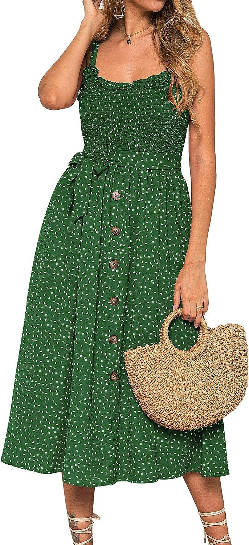 Women Summer Sleeveless Floral Holiday Beach Dresses Ruffle Midi Dress Sundress