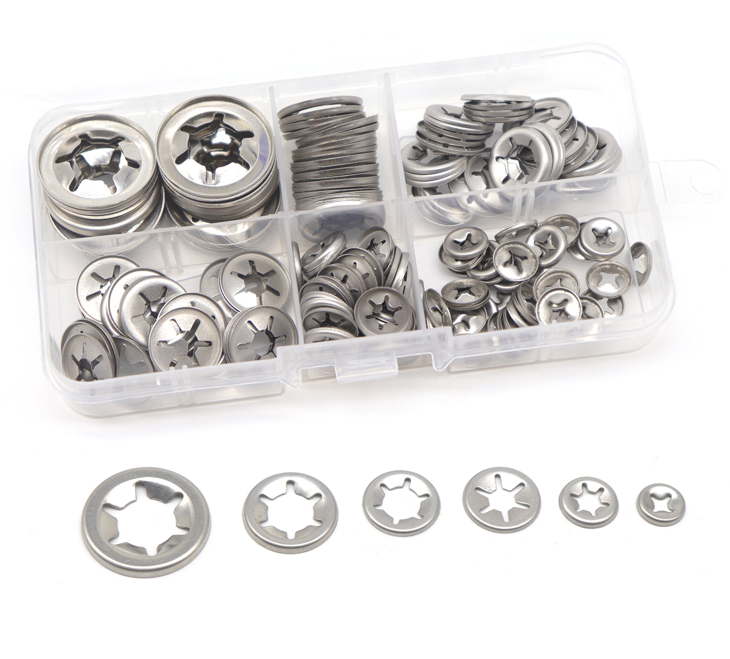 cSeao 150pcs 304 Stainless Steel Starlock Internal Tooth Push On Locking Washers Assortment Kit, M3/ M4/ M5/ M6/ M8/ M10/ M12
