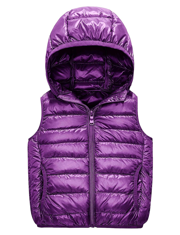 IKALI Boys Girls Puffer Down Vest Kids Lightweight Sleeveless Jacket Packable Outerwear Gilet with Hood