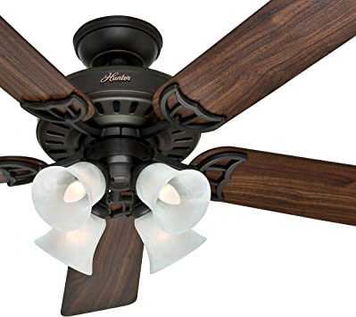 Hunter Fan 52 Inch White Ceiling Fan With A Frosted Glass Light Kit 5 Blade Renewed New Bronze Amazon Com
