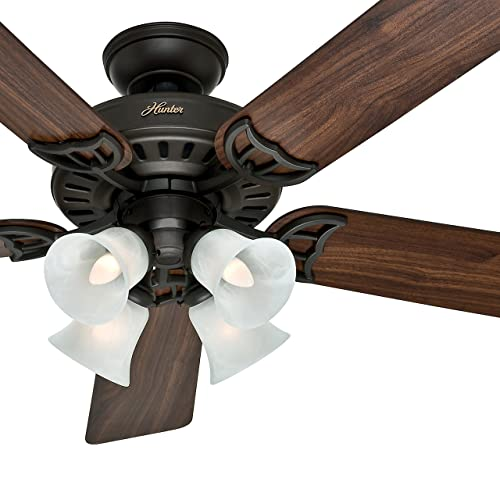 Hunter Fan 52 inch White Ceiling Fan with a Frosted Glass Light Kit, 5 Blade Renewed New Bronze