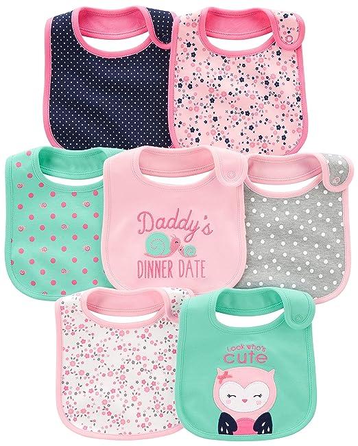 5ca5411ad6b2 Amazon.com  Simple Joys by Carter s Baby Girls  7-Pack Teething Bib ...