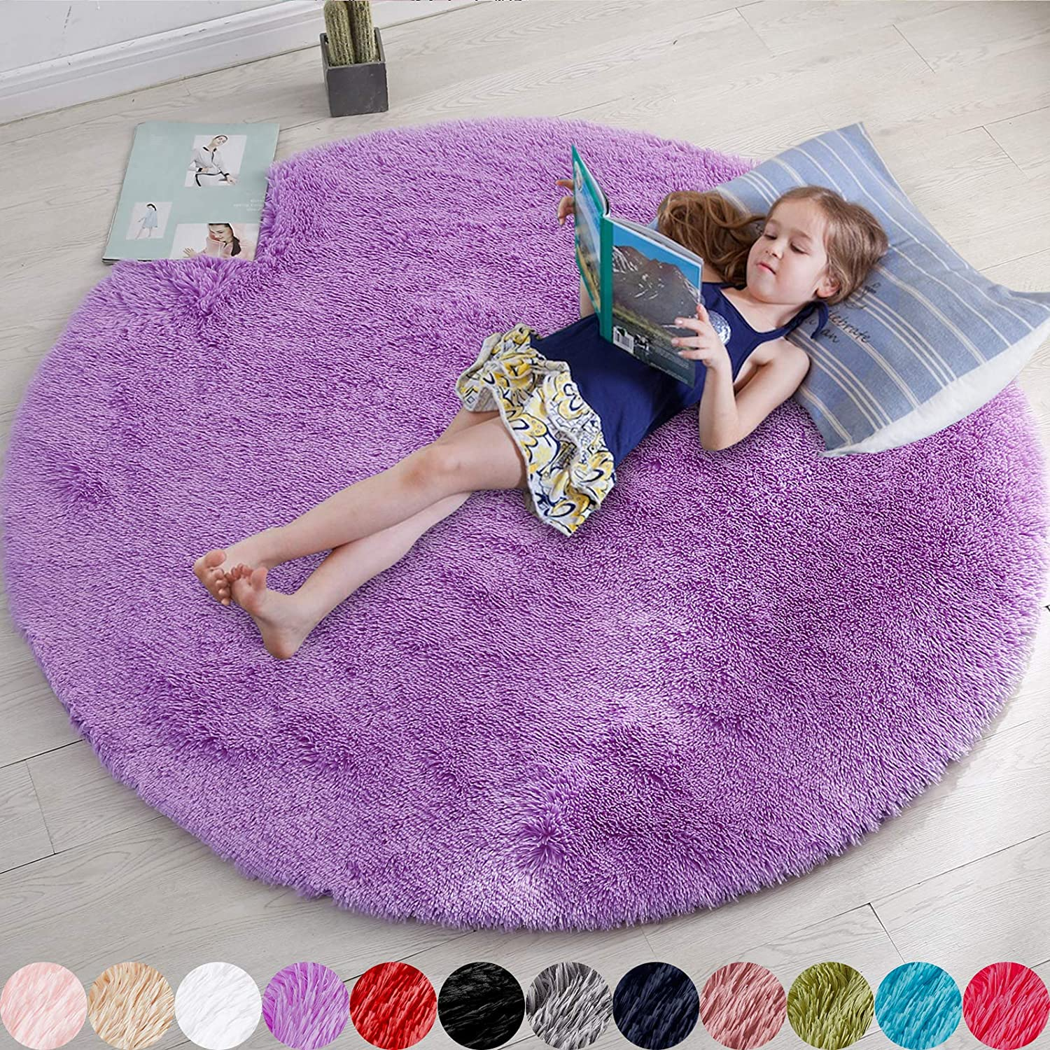 Purple Round Rug for Bedroom,Fluffy Circle Rug 4'X4' for Kids Room,Furry Carpet for Teen's Room,Shaggy Circular Rug for Nursery Room,Fuzzy Plush Rug for Dorm,Purple Carpet,Cute Room Decor for Baby