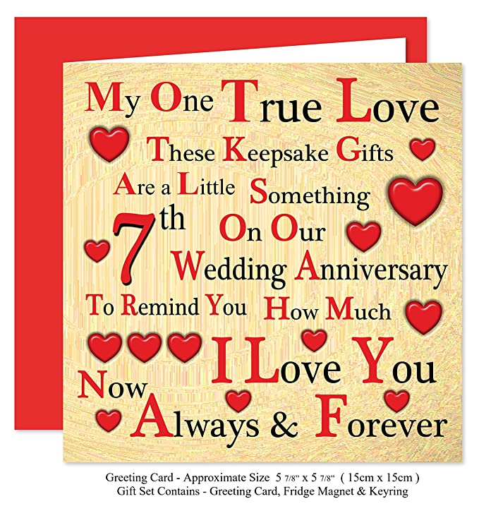 Our 7th Wedding Anniversary Gift Set Card Keyring Fridge Magnet