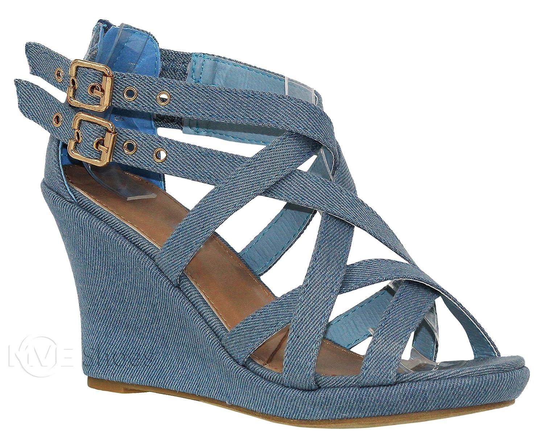 Mve Shoes Women's Platform Cut Out Buckle Open Toe Wedges by Mve Shoes