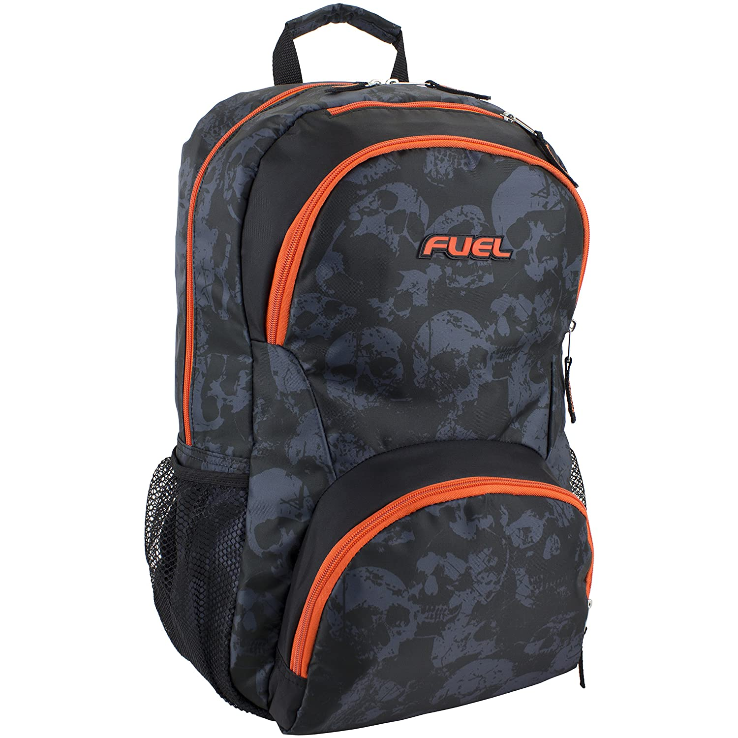 Amazon.com | Fuel Valor Everyday Backpack with Interior Tech Sleeve, Black/Skull Print with Orange Trim | Casual Daypacks