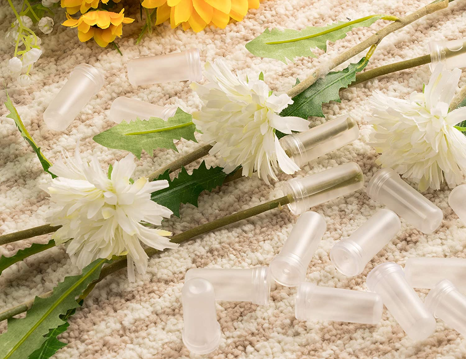 Floral Tube Flower Vials Clear Plastic Opening 3mm 200-Pack Flower Tube Floral Water Tube for Flower Arrangements 0.6 x 0.6 x 1.625 Inches