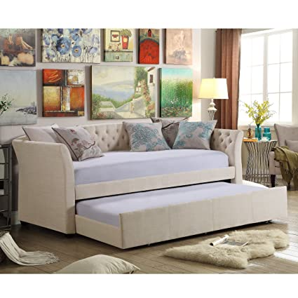 e6a0e9ffc7ea Amazon.com: Rosevera Elsa Twin Size Daybed with Trundle, Beige: Kitchen &  Dining