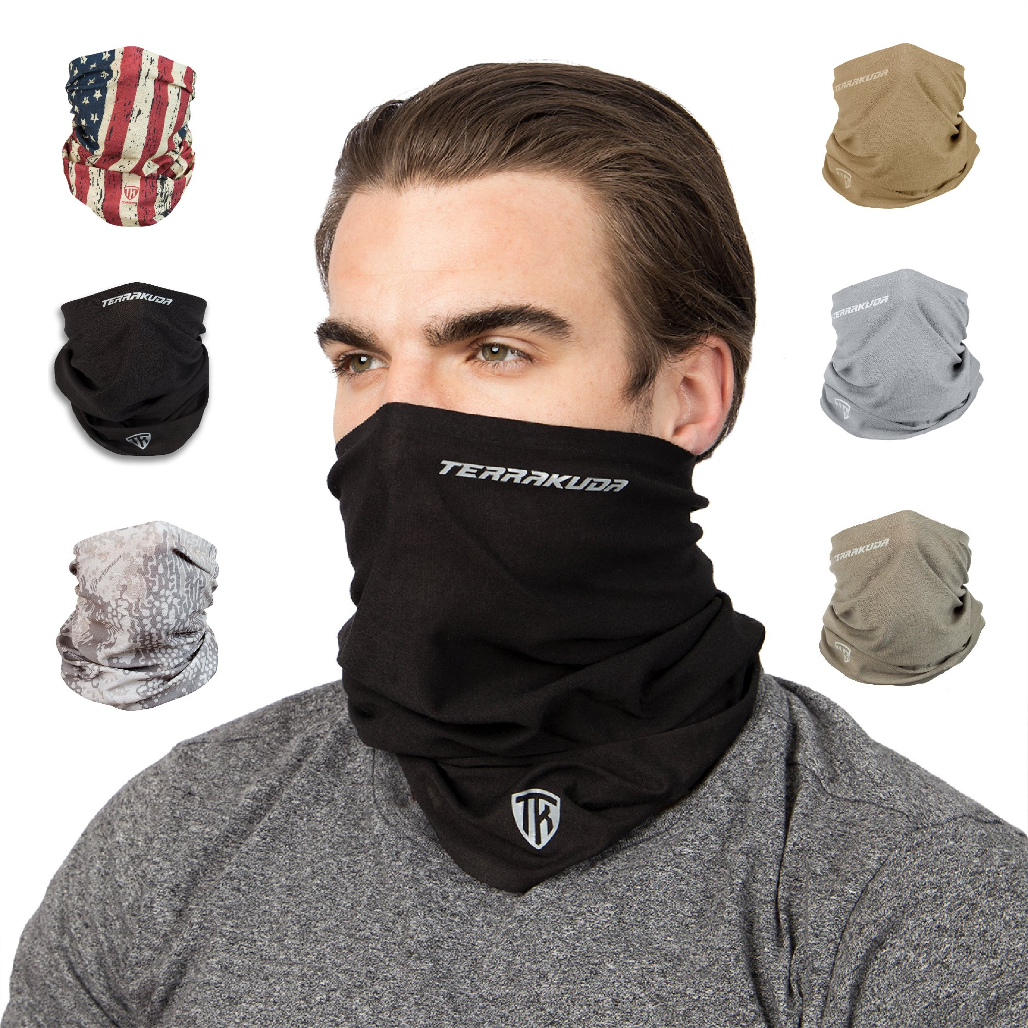 Terra Kuda Face Clothing Neck Gaiter Mask - Non Slip Light Breathable for Sun Wind Dust Bandana Balaclava (Stealth Black) by Terra Kuda