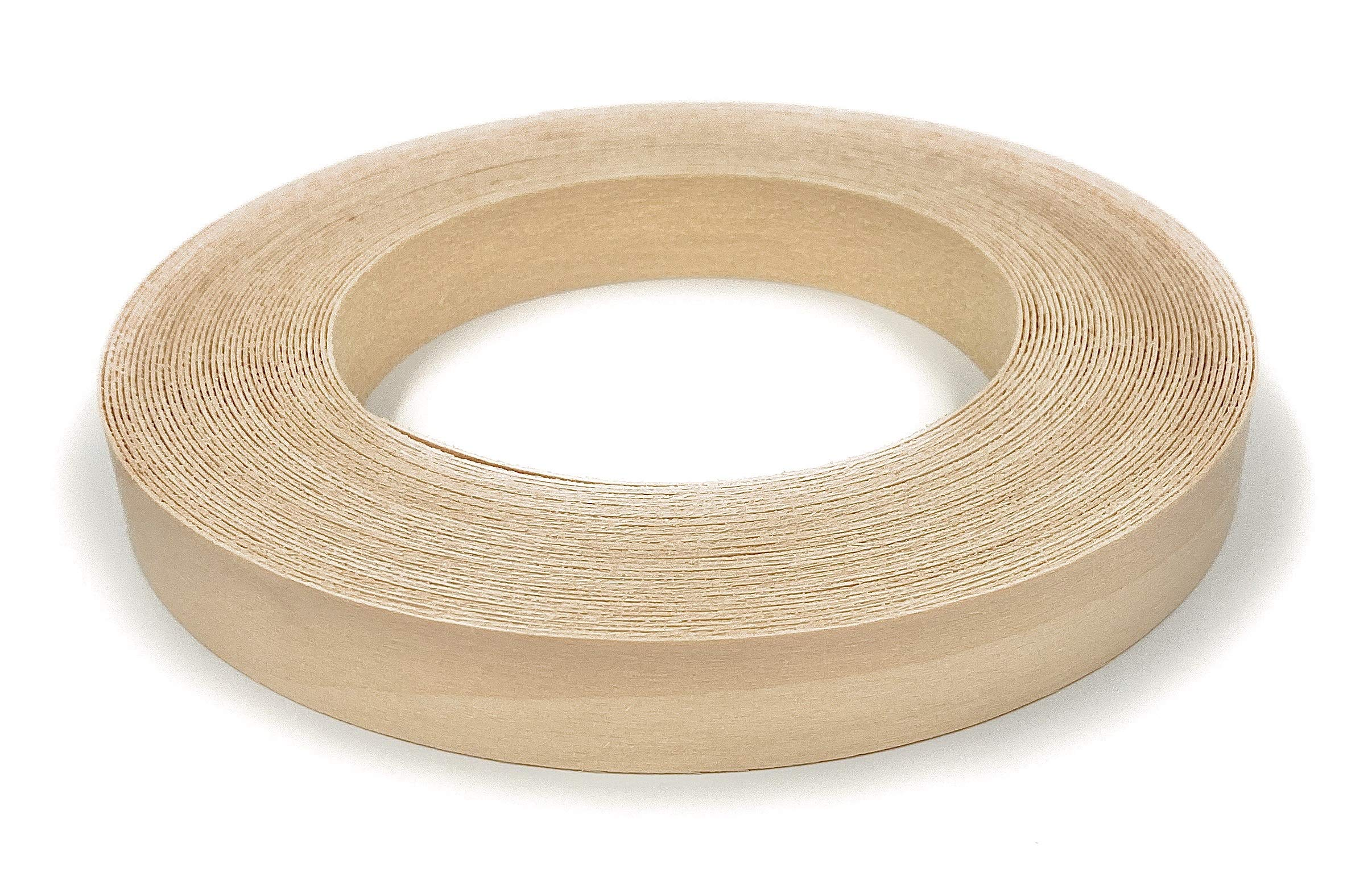 """Edge Supply Birch 3/4"""" X 50' Roll, Wood Veneer Edge Banding Preglued, Iron on with Hot Melt Adhesive, Flexible Wood Tape Sanded to Perfection. Easy Application, Made in USA."""
