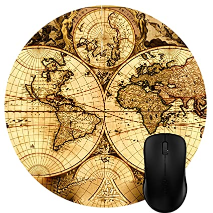 Amazon luckcac round mouse pad customized design vintage luckcac round mouse pad customized design vintage ancient old world map gumiabroncs Gallery
