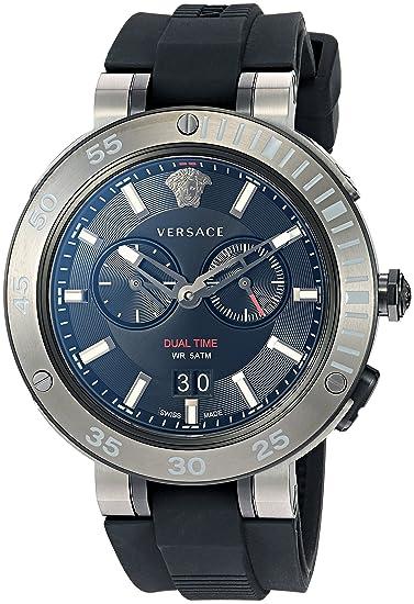 Versace Reloj Analógico para Hombre de Cuarzo con Correa en Caucho VCN020017
