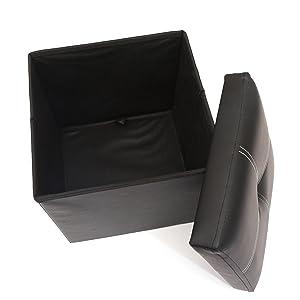 Puff Baúl Plegable Cuadrado Taburete de almacenamiento Tapizado en esponja y Cuero de imitación, con medidas 30x30x30cm / 27L - Negro