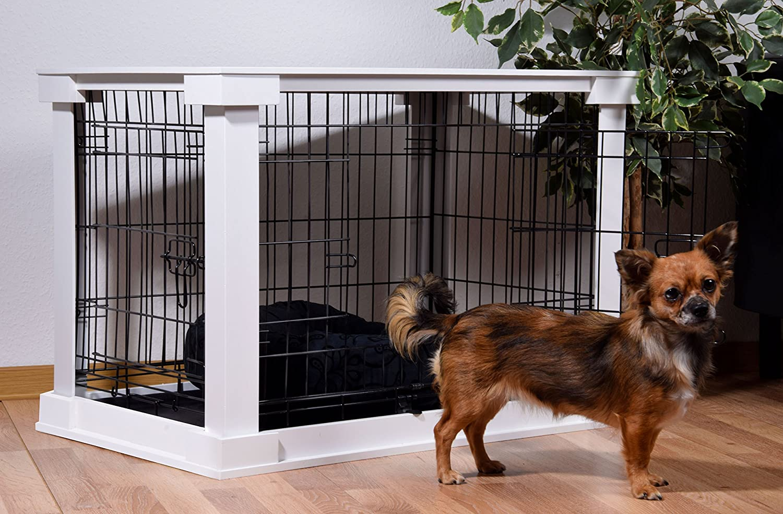 dobar 35241 Perros Jaula Grande de Madera con Superficie de Mesa para Interior, Perros Box Indoor, M, Color Blanco: Amazon.es: Productos para mascotas