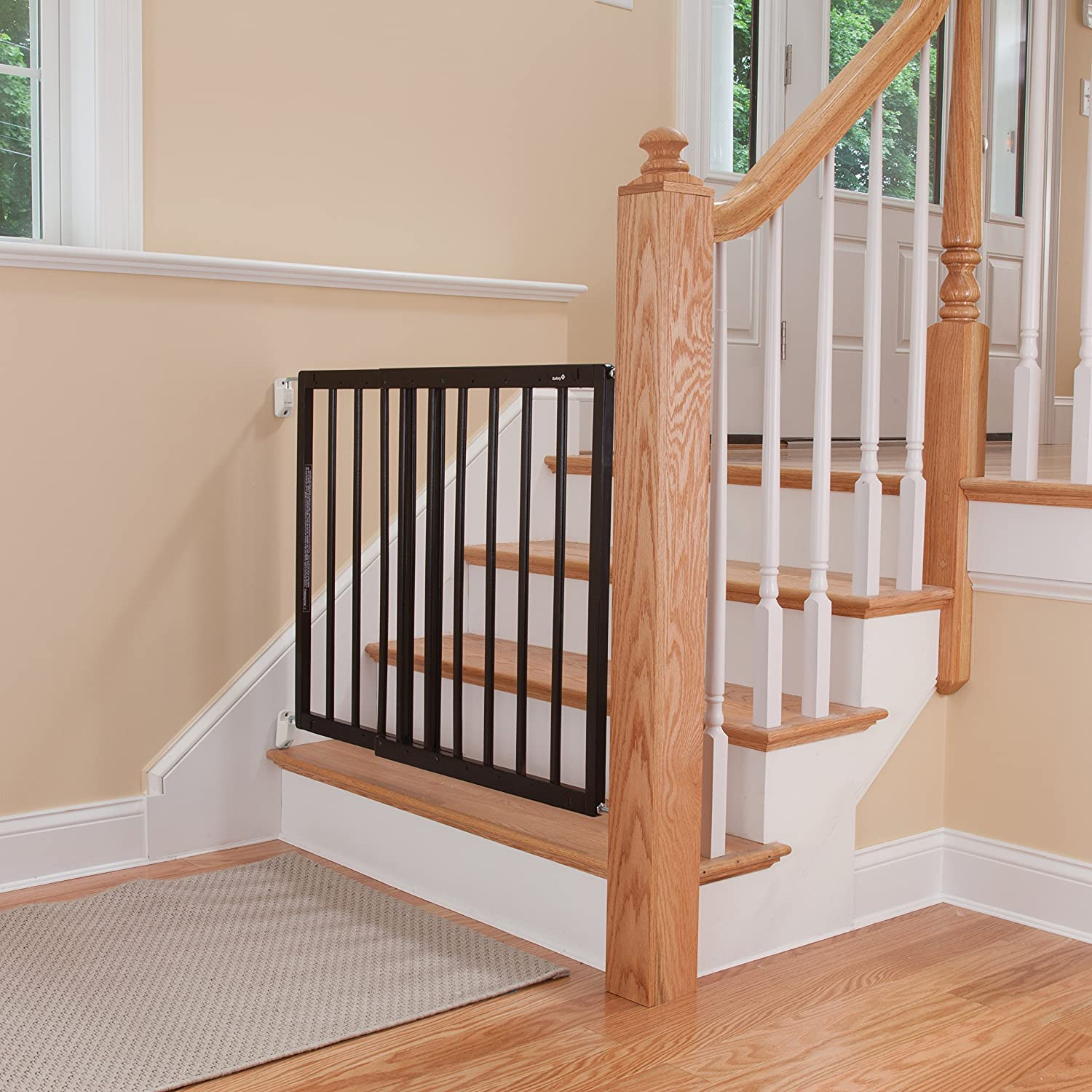 amazoncom  safety st top of stairs frameless décor swing gate  - amazoncom  safety st top of stairs frameless décor swing gate fitsspace between  and   baby