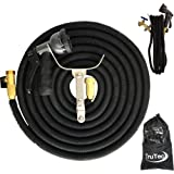 75 Foot Expandable Garden Hose, Newest Model 2017, Triple Layer Latex, Nylon Fabric 48 Ply, Solid Brass Connectors, Spray Nozzle, Stainless Holder, Black