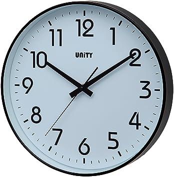 Unity Fradley - Reloj de pared silencioso, moderno, 30 x 30 x 5 cm, color negro: Amazon.es: Hogar