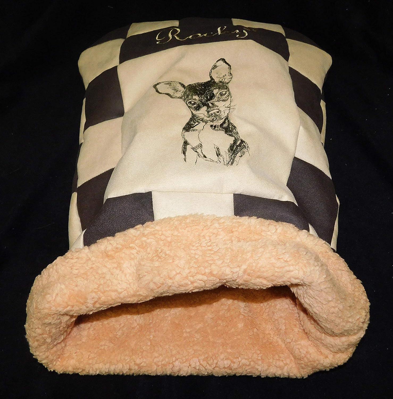 LunaChild Hunde Kuschelhöhle Prager Rattler Pinscher Zwergpinscher 1 Hundebett Name Snuggle Bag Größe S M L oder XL in vielen Farben erhältlich