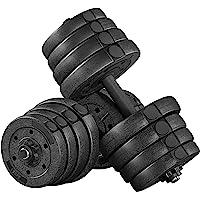 Yaheetech Halterset, 2 korte halters, 30 kg, halterstangen met stersluitingen voor krachttraining