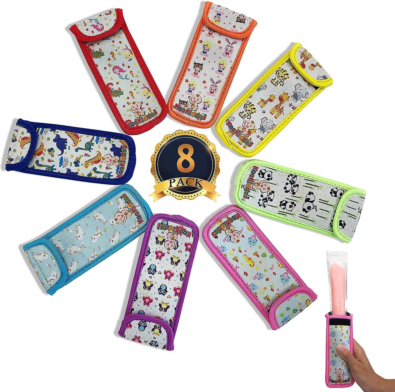 KooKiddos Popsicle Holders For Kids, Ice Pop Sleeves, Reusable Popsicles Covers, Neoprene Storage Popsicle Bags, Freeze Pops Sleeve, Freezer Pops Ice Pops Insulator, Popcicle Holder Pack 8 Designs