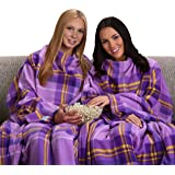 The Original Snuggie - Super Soft Fleece Blanket With Sleeves And Pockets - Purple Plaid