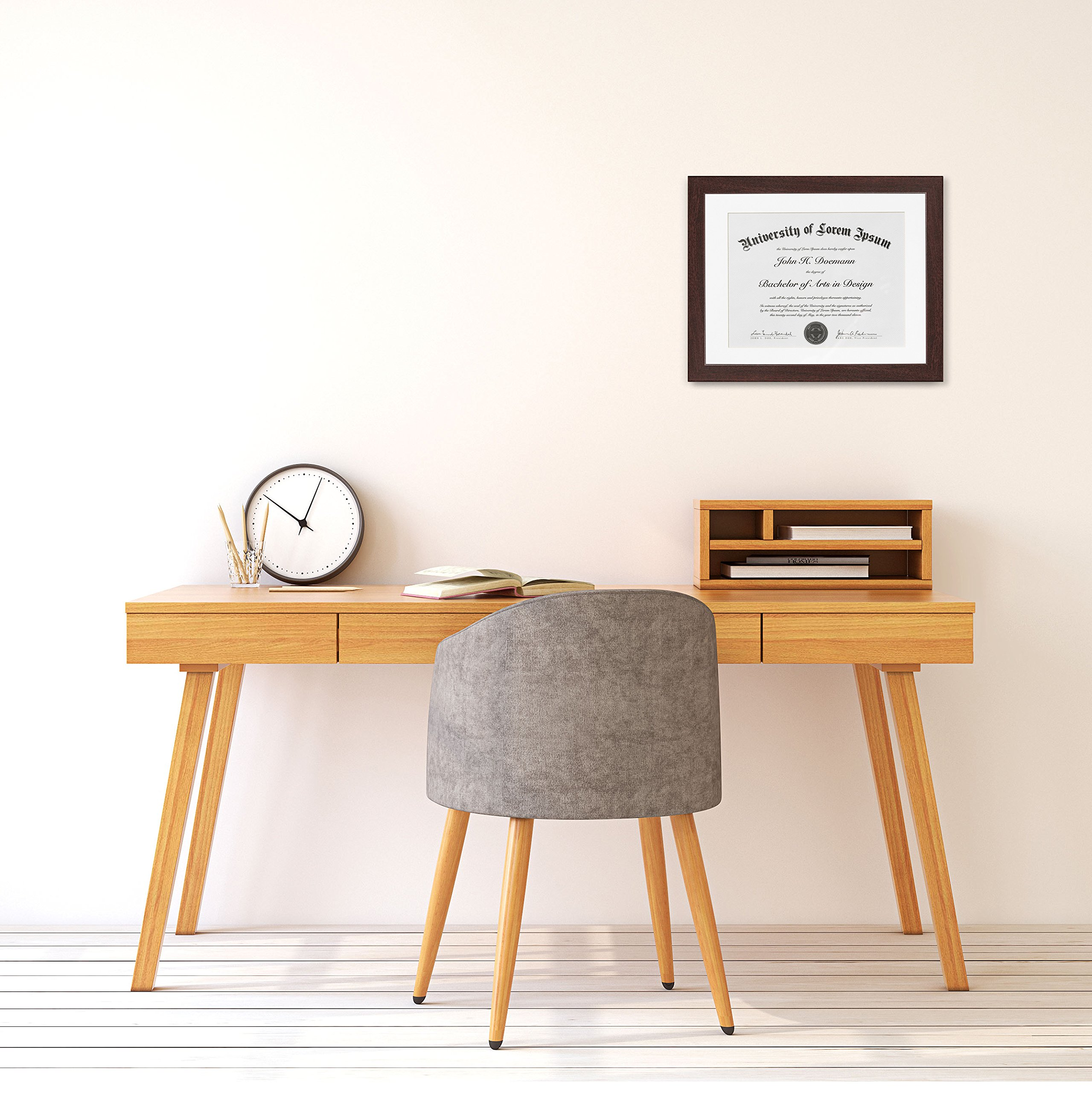 Mahogany Document Frame - Made to Display Documents sized 8.5 x 11 ...