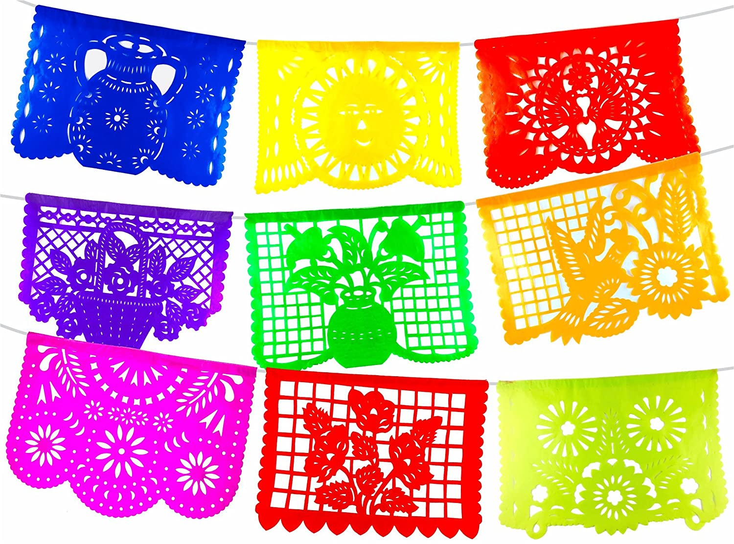 Mexican Papel Picado Banner. 9 Different designs for any ocasion.Vibrant Colors as pictured on tissue paper. Full size panels. artemex