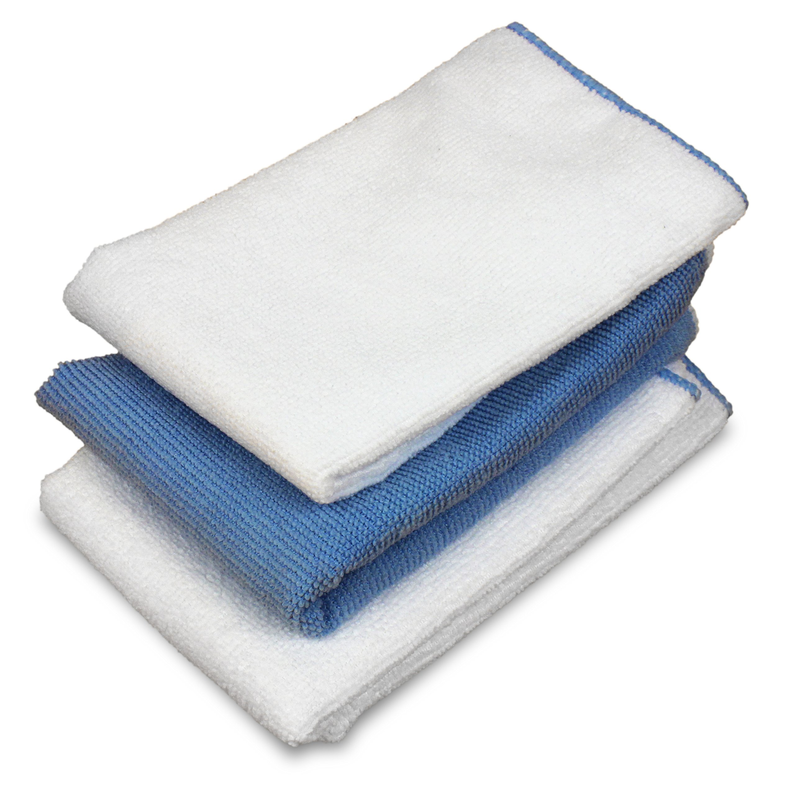 Home Solutions Microfiber Cloth Cleaning Set -3x Mix Pack White & Blue Microfiber