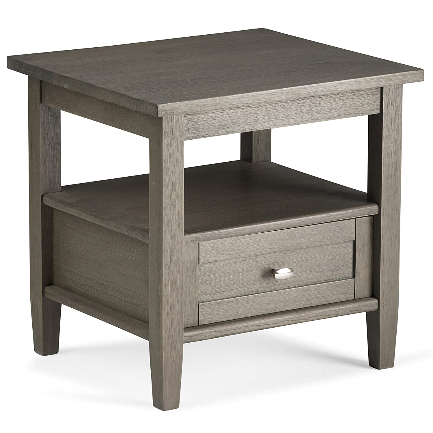 Simpli Home AXWSH002-FG Warm Shaker Solid Wood End Side Table in Farmhouse Grey