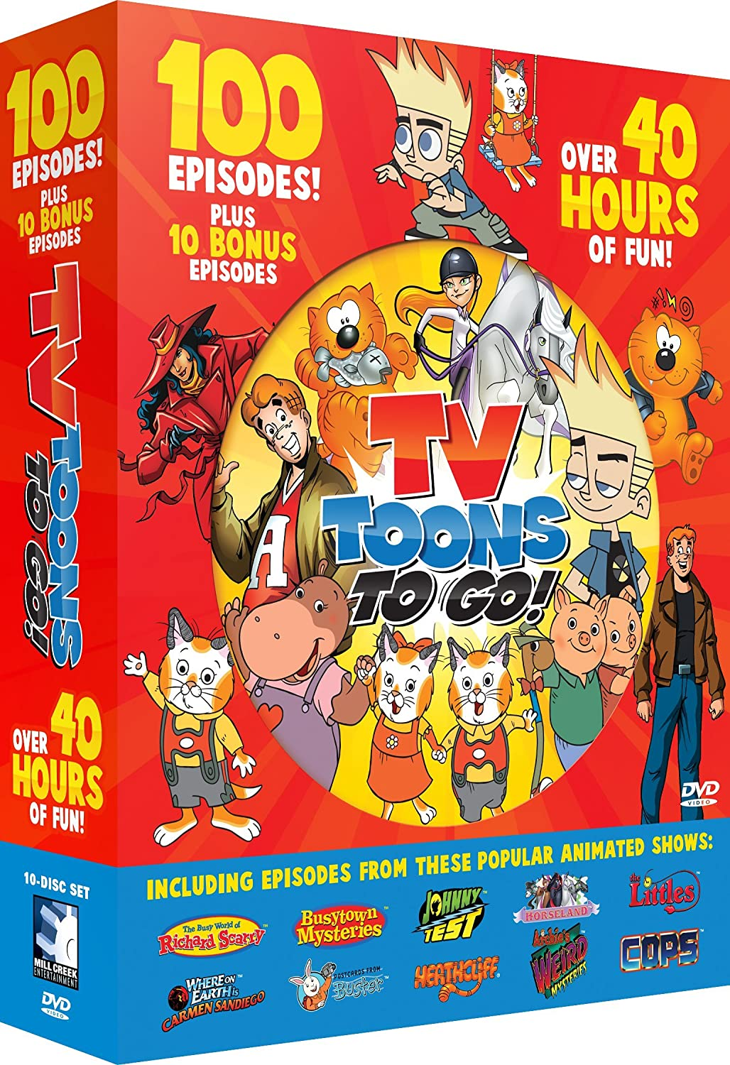 Amazon Com Tv Toons To Go 100 Cartoon Collection Johnny Test Huckle Cat Heathclif Archie Carmen Sandiego Buster Various Movies Tv