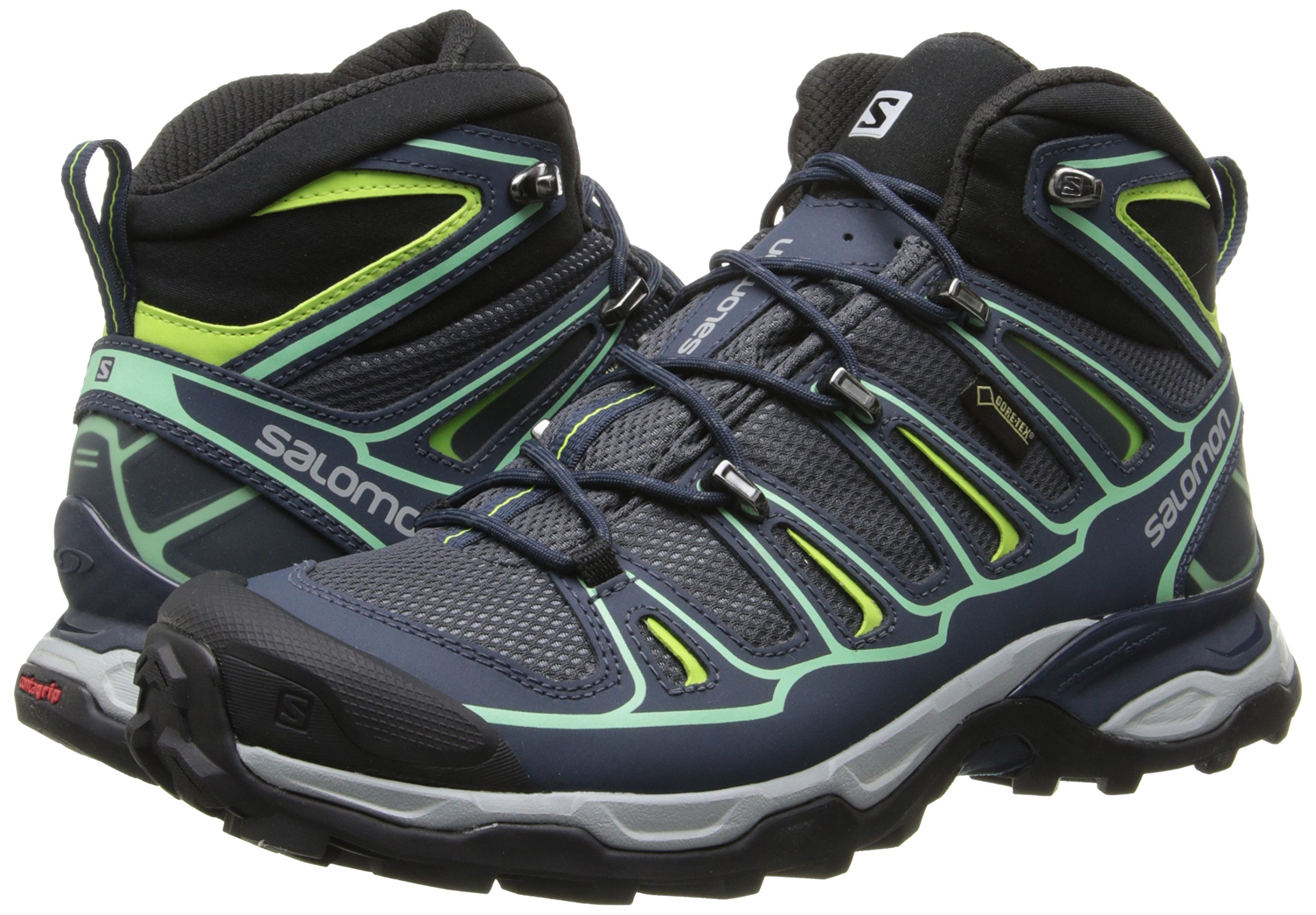 Salomon Women's X Ultra Mid 2 GTX Hiking Shoe, Grey Denim/Deep Blue/Lucite Green, 9 M US by Salomon (Image #6)