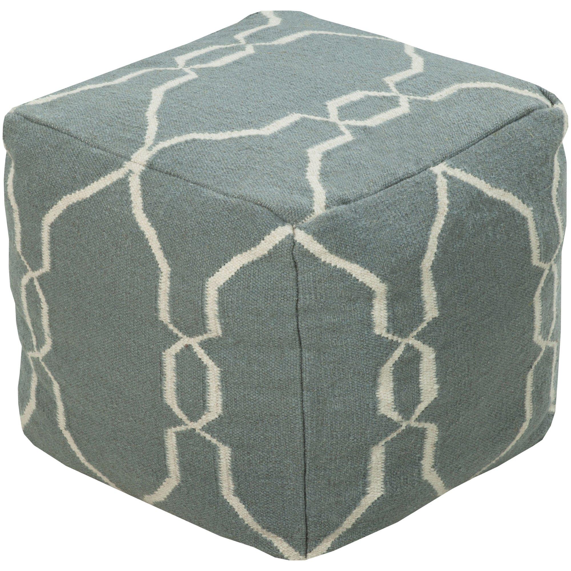 Surya POUF-25 Hand Made 100% Wool Tan 18'' x 18'' x 18'' Pouf