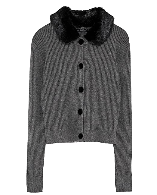 05fd63c664ae Zara Women Ribbed cardigan with texture 5536 100 (Large)  Amazon.ca ...