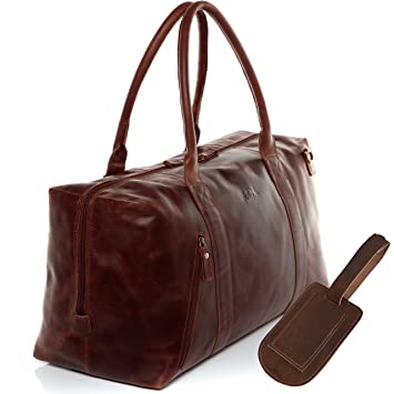 SID & VAIN® grand sac de voyage CHASE - grand XL fourre-tout besace week-end - sac sport bagages cabine à main homme femme gris clair - marron cuir zF26d