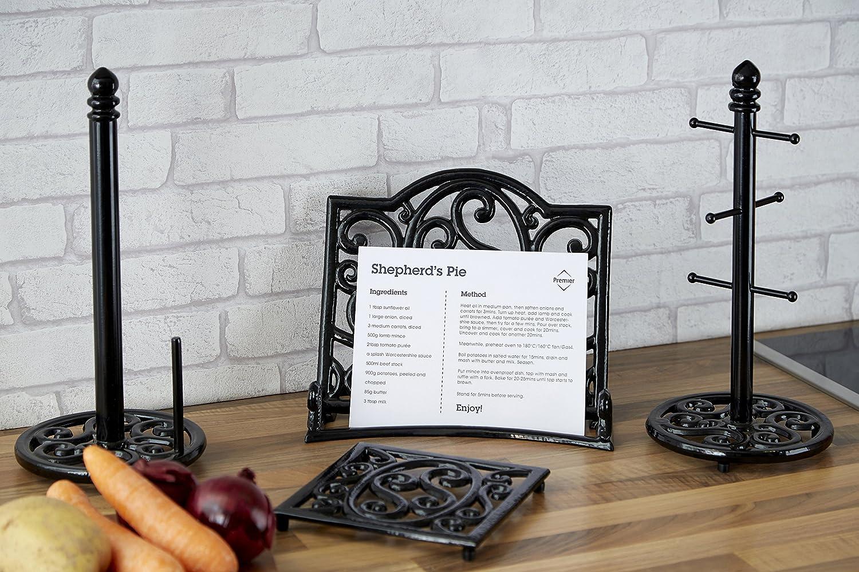 Premier Housewares Schwarzer Guaseisen-Kochbuchst/änder
