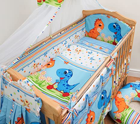 5 p Bedding Set ALL ROUND BUMPER 4 Cot or Cot Bed 120x60 140x70cm 100/% COTTON