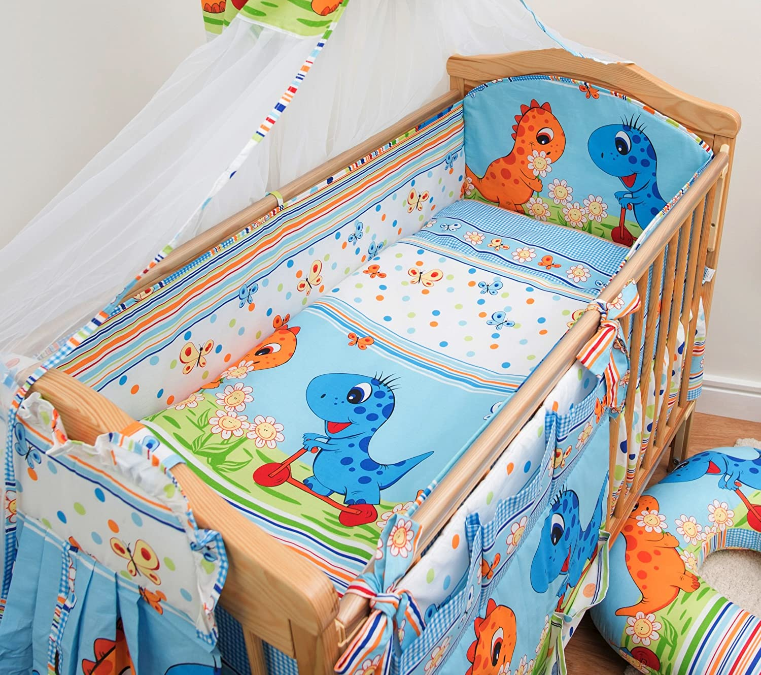 Nursery Baby Cot Bed Bumper / Pad 60x120 / 360cm Long All Round Bumper - Dino Blue Baby Comfort