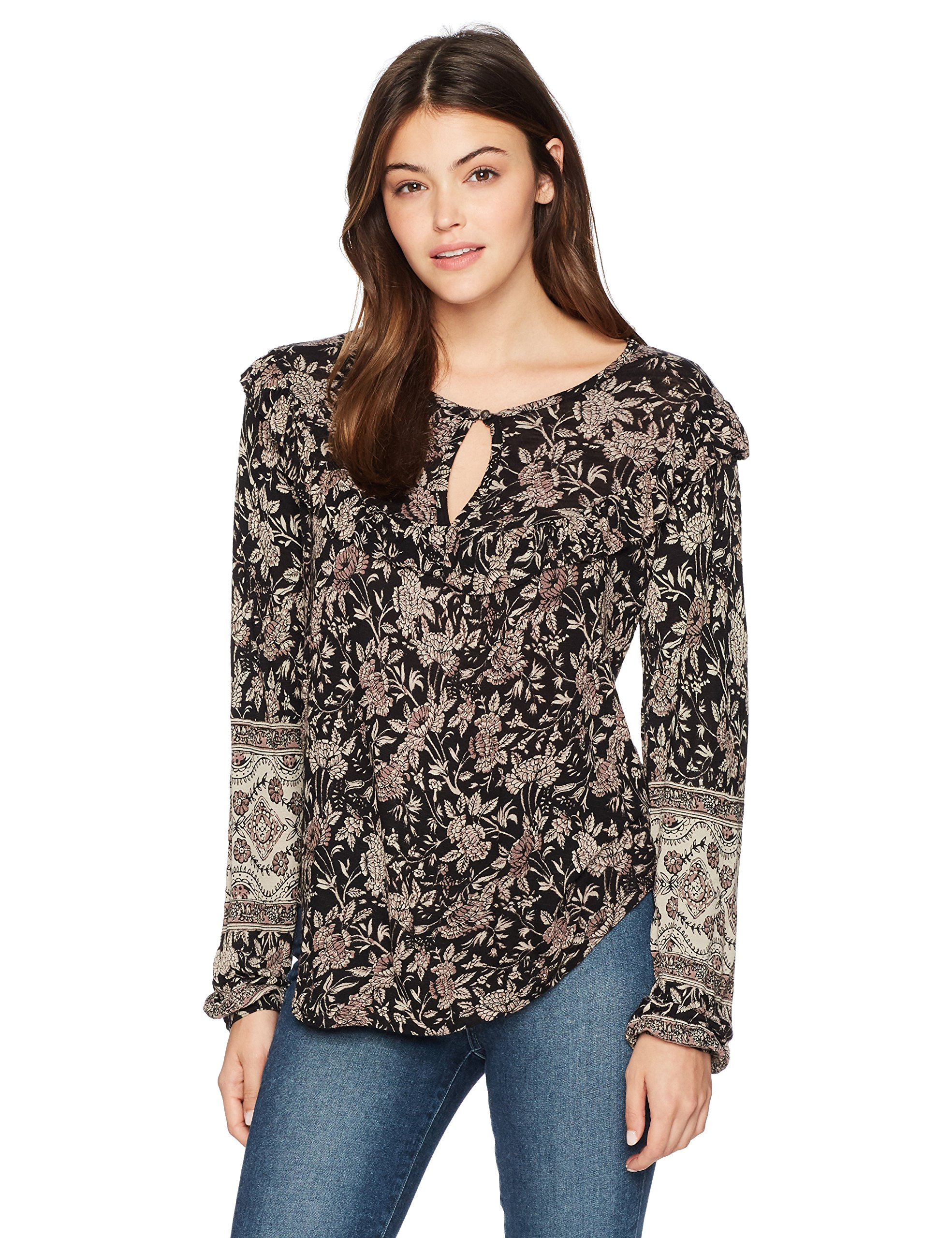 Lucky Brand Women's Mixed Print Ruffle Top, Black/Multi, L