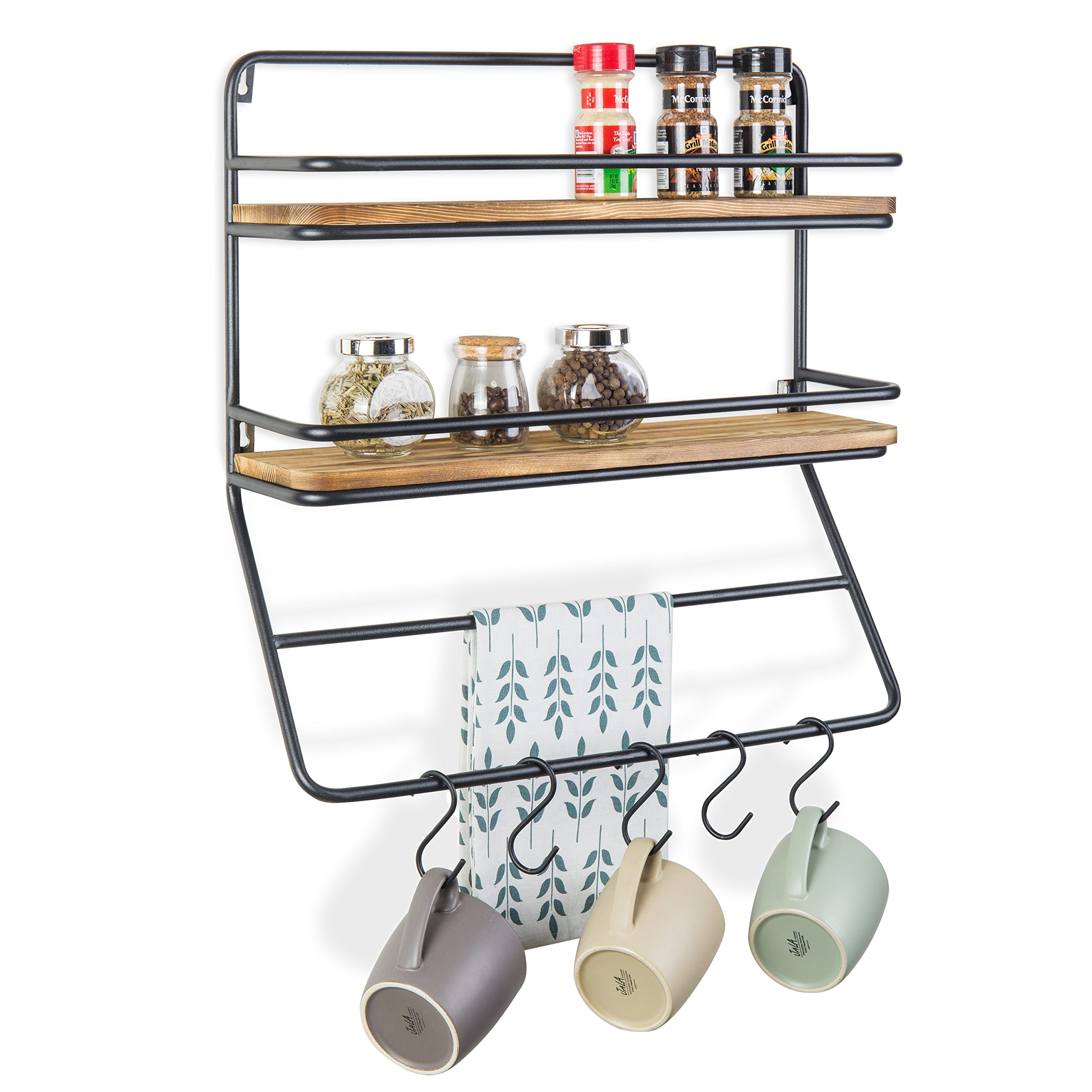 MyGift Wall-Mounted 2-Tier Shelf Rack with Towel Bar & 5 Removable S-Hooks