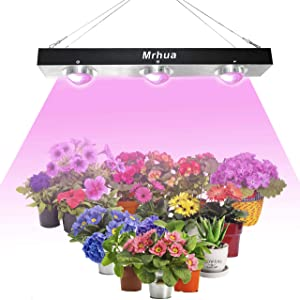 COB LED Grow Light, Mrhua 600W Full Spectrum COB Grow Lamp with Stronger Cooling Fan System No Noisy Led Grow Lights for Indoor Plants Veg and Flower